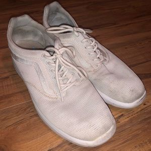 white vans running shoes